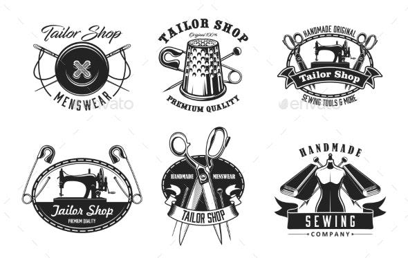 Tailor Shop Icons - Decorative Symbols Decorative