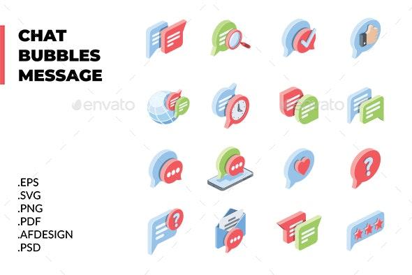 Chat, Bubbles, Message set - Web Icons