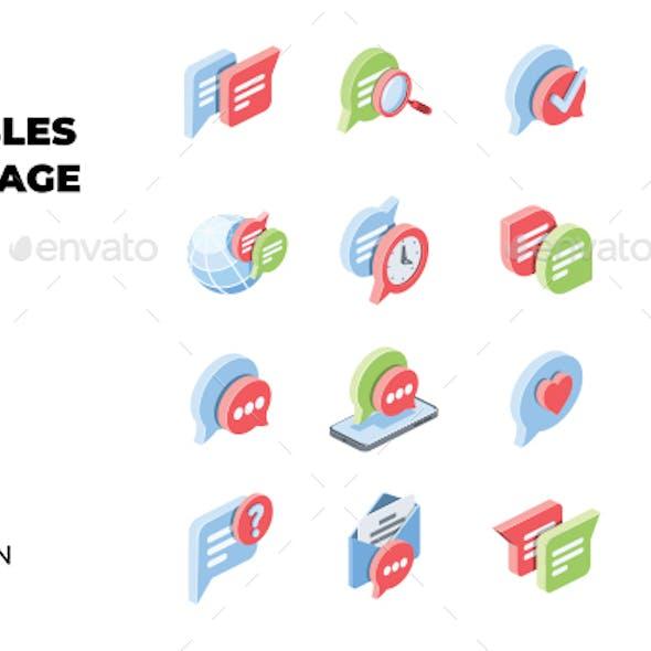 Chat, Bubbles, Message set
