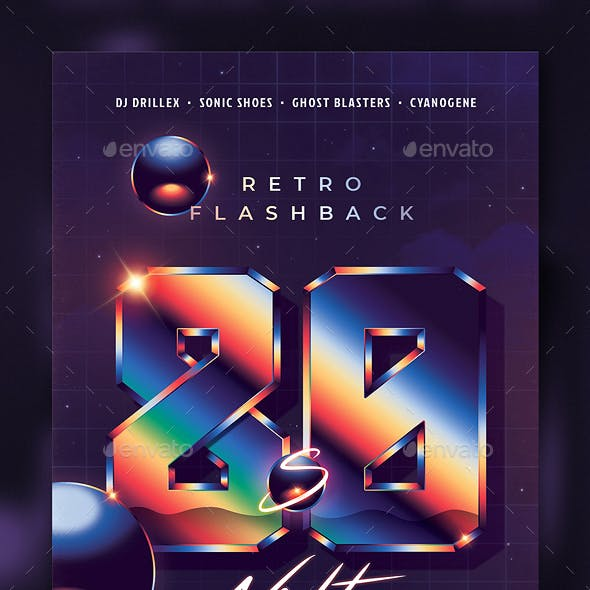 80`s Night Retro Flashback Party Flyer Template