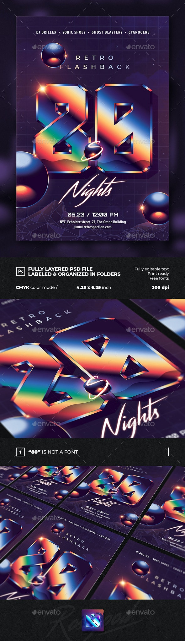 80`s Night Retro Flashback Party Flyer Template - Events Flyers