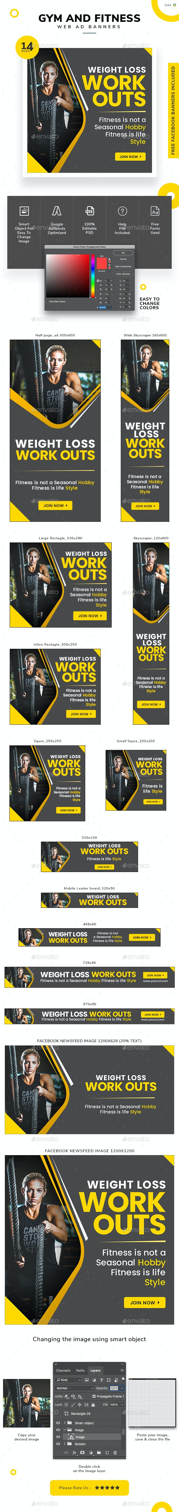 Gym and fitness Web Banner Set - Banners & Ads Web Elements