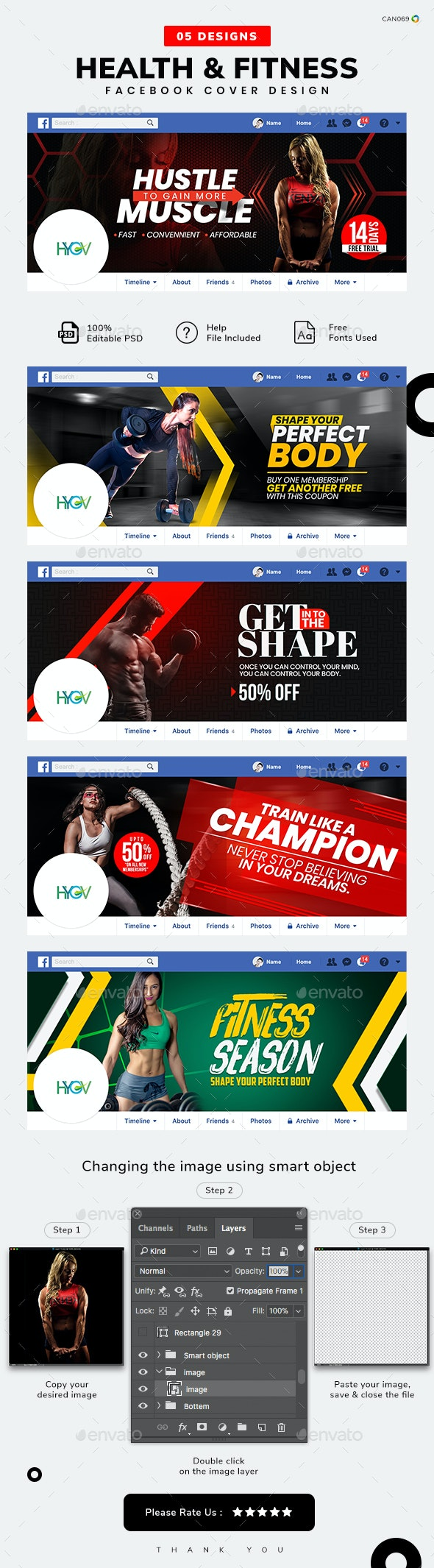 Health and Fitness Facebook Cover Templates - 05 Designs - Facebook Timeline Covers Social Media