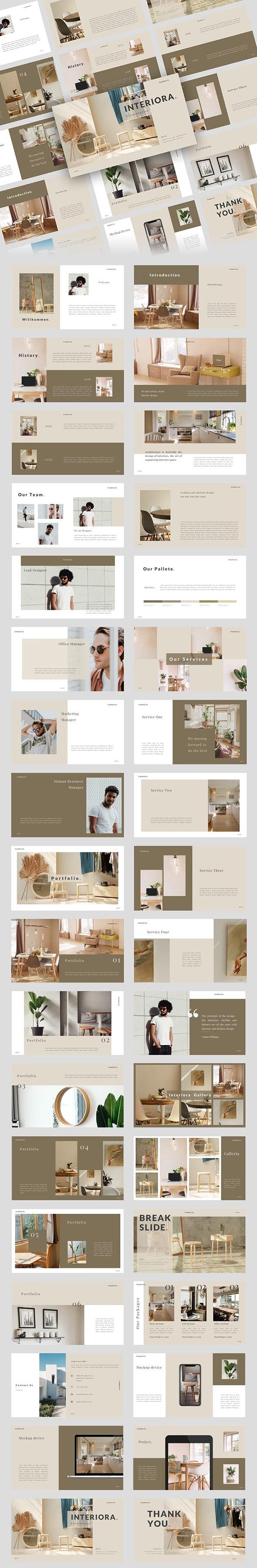 Interiora. Clean & Modern Business PowerPoint Template - PowerPoint Templates Presentation Templates