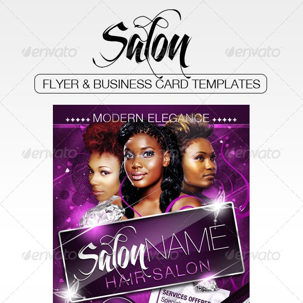 Salon Flyer and Business Card Templates