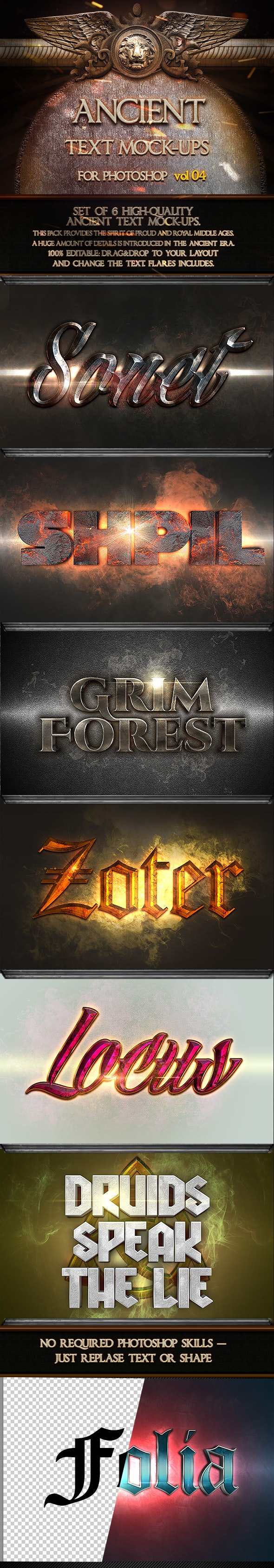 6 Ancient Text Mock-Ups  vol. 04 - Text Effects Styles
