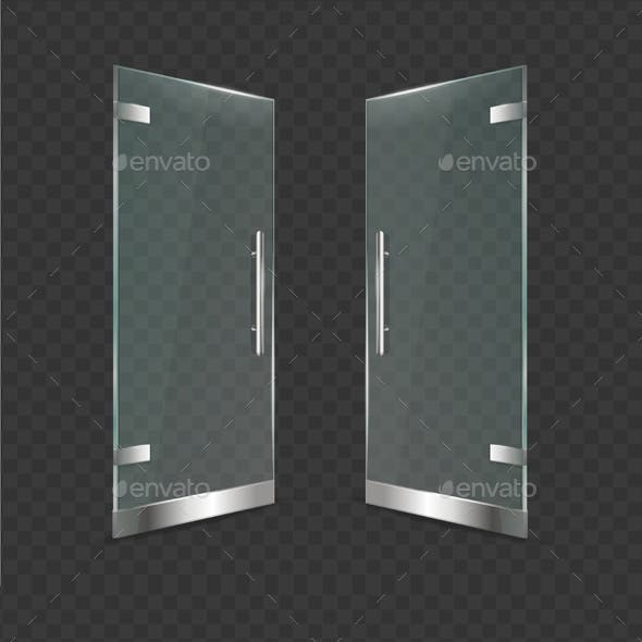 Realistic Detailed Glass Door on a Transparent Background