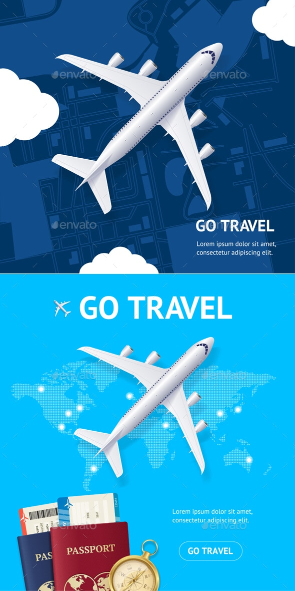 Realistic Detailed Airplane and Go Travel Concept Card - Travel Conceptual