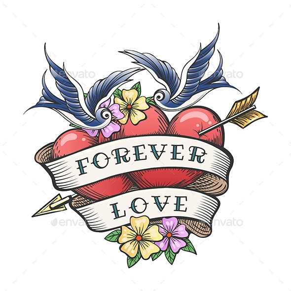 Old School Tattoo with Swallows and Hearts - Tattoos Vectors
