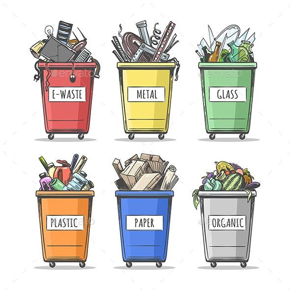 Hand Drawn Sorted Trash Can Set - Miscellaneous Vectors