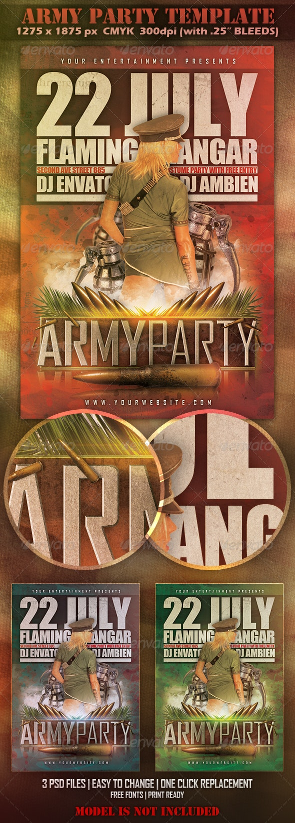 Army Party Template - Clubs & Parties Events