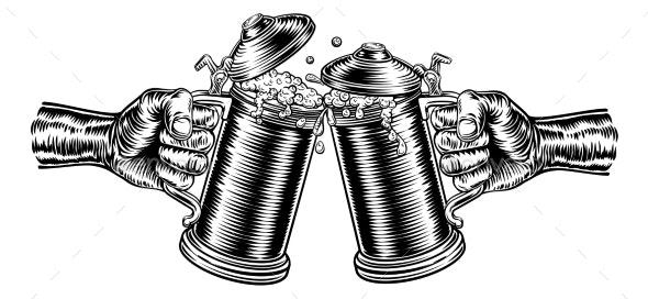 Beer Stein German Oktoberfest Pint Tankard Mugs - Food Objects