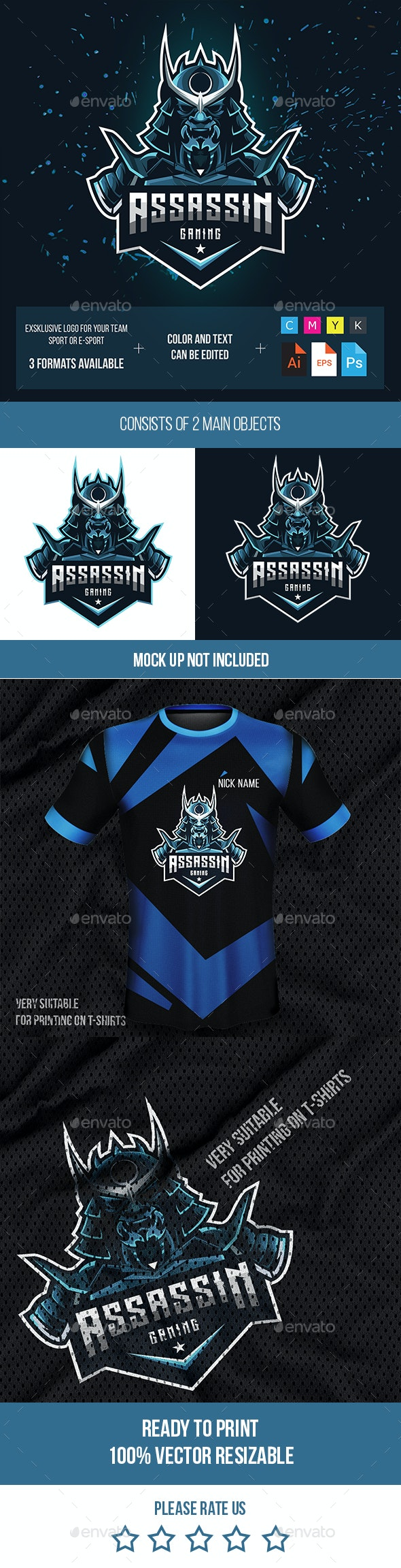 Assassin Gaming Logo for Your Team - Sports Logo Templates