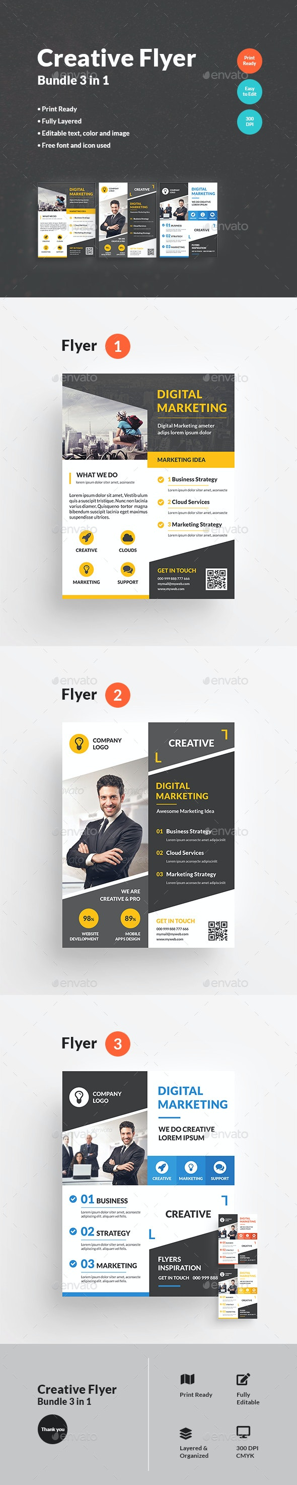 Creative Flyer Bundle 3 in 1 - Corporate Flyers