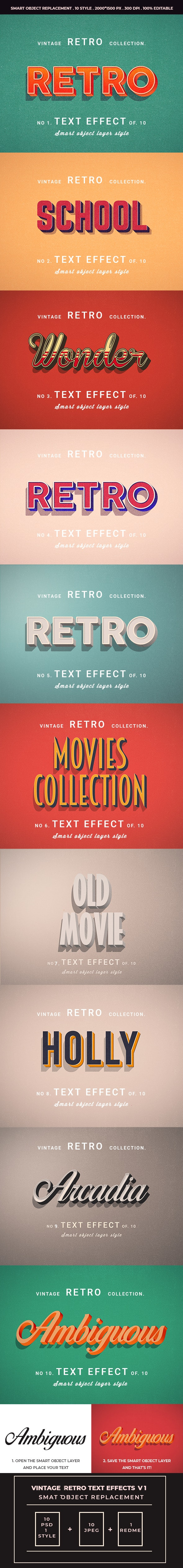 Retro Vintage Text Effects For Photoshop V1 - Text Effects Actions