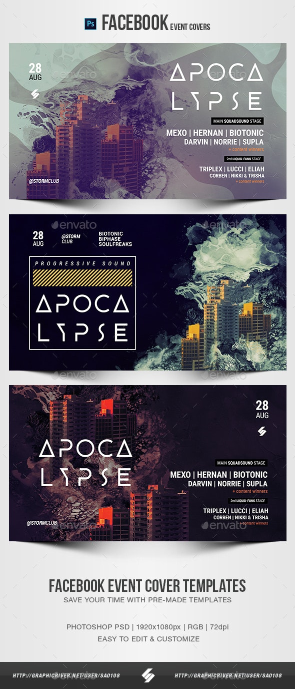 Electronic Music Party 23 - Facebook Event Cover Templates - Social Media Web Elements