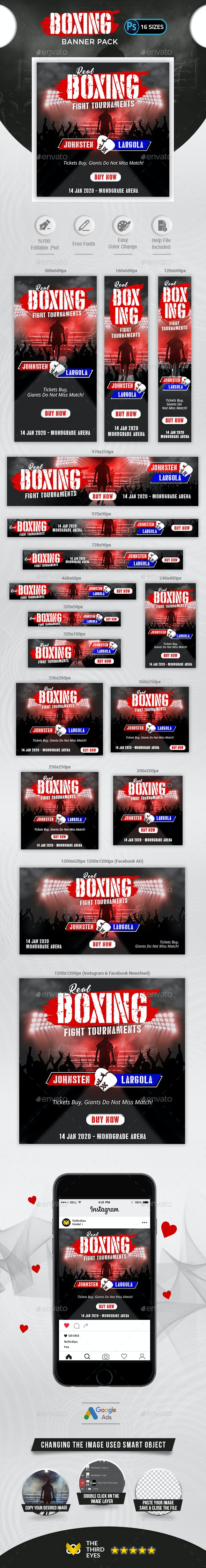 Boxing Banner Pack - Banners & Ads Web Elements