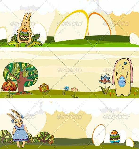 Easter Rabbit Banner Set