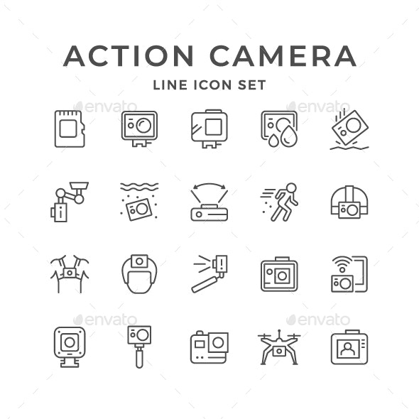 Set Line Icons of Action Camera - Man-made objects Objects