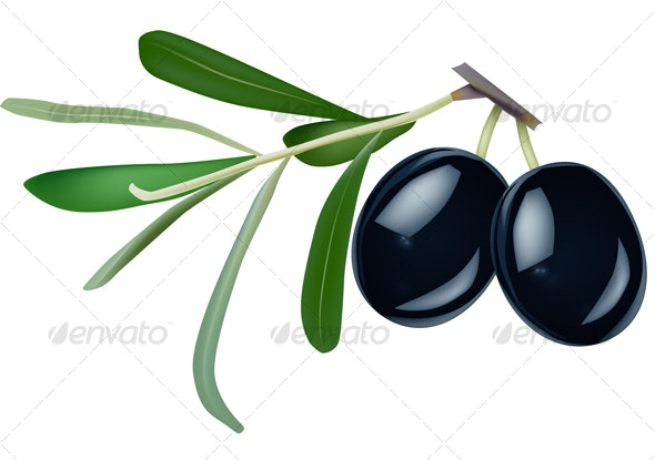 black olives with leaves on white background - Food Objects