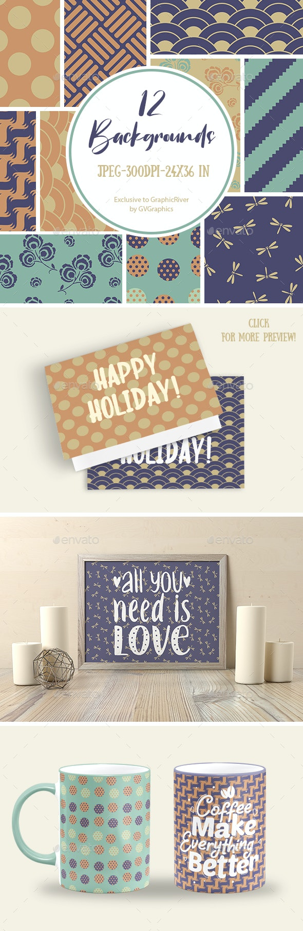 Background Set in brown and blue - Patterns Backgrounds