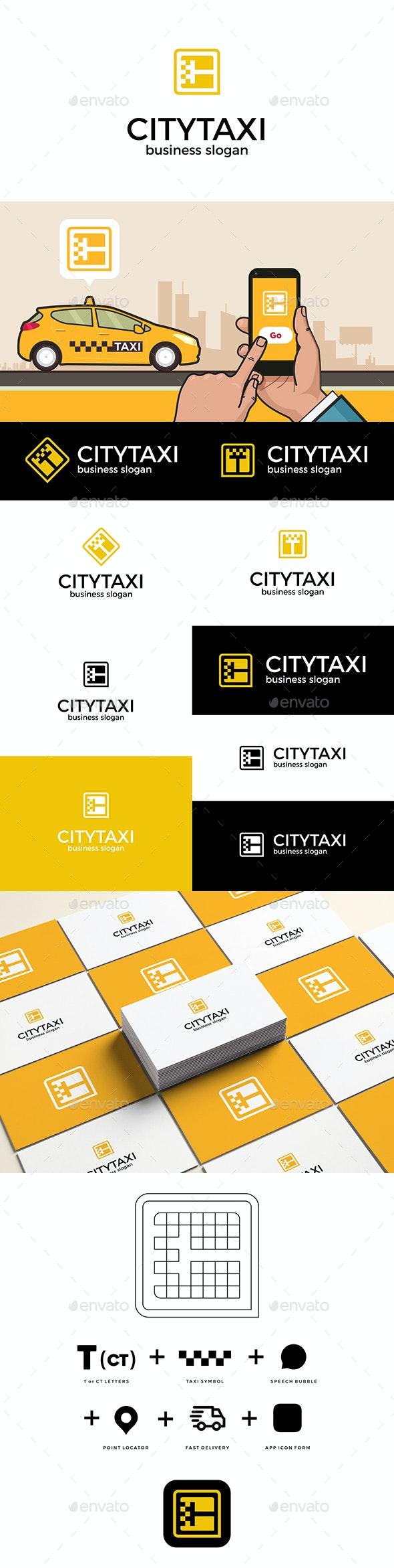 City Taxi App Icon Logo - Vector Abstract