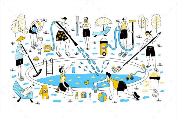 Pool Maintenance - People Characters