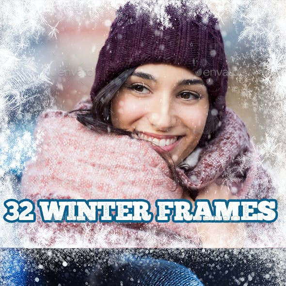 32 Winter Frames, Snow Digital Border