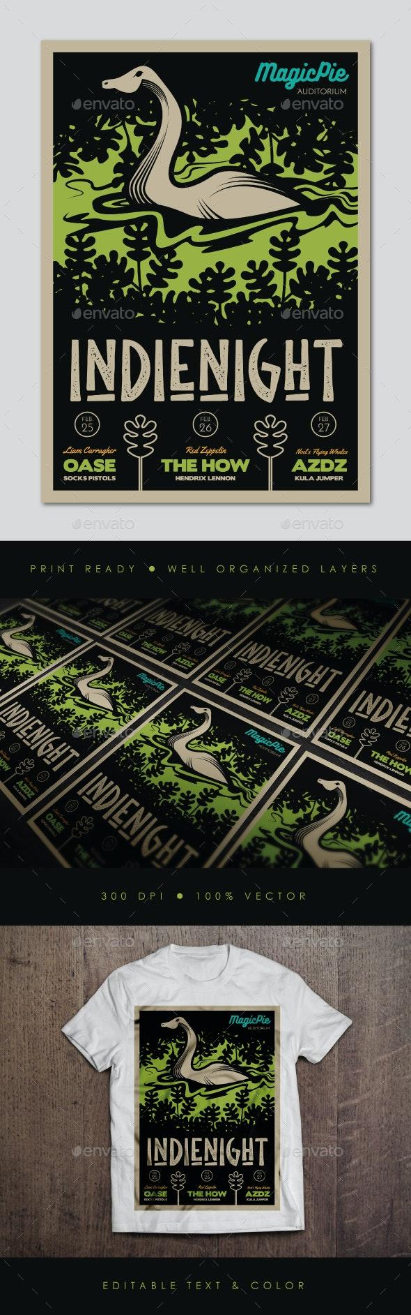 Lake Monster Indie Gig Flyer - Concerts Events
