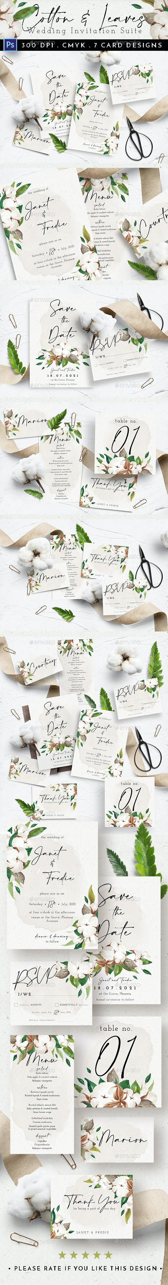 Cotton & Leaves Wedding Suite - Weddings Cards & Invites