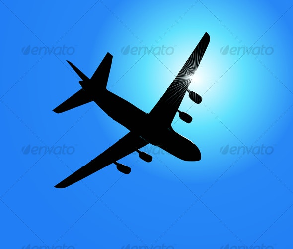 Fast airplane in the sky  - Travel Conceptual