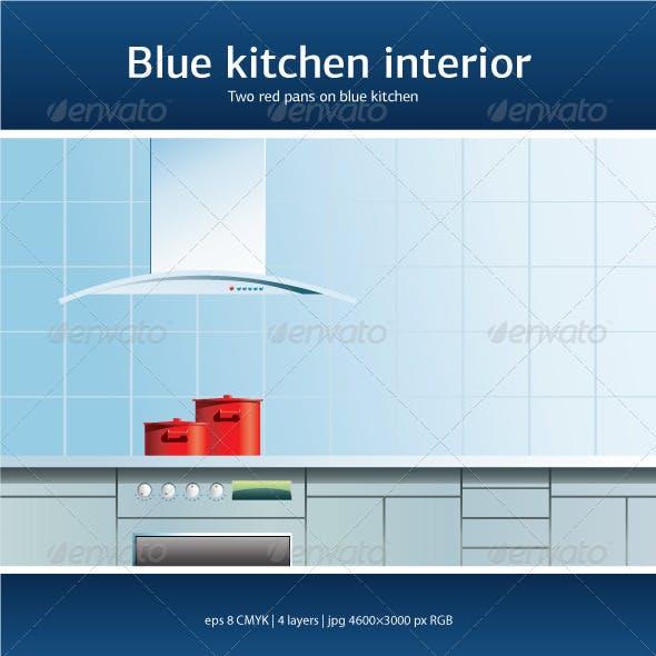 Blue kitchen interior