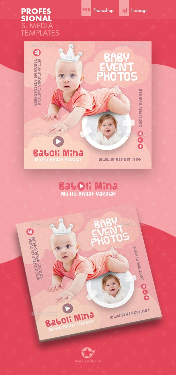 Baby Photo Social Media Templates - Social Media Web Elements