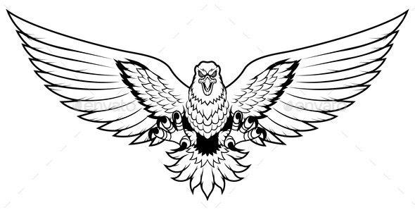 Eagle Attack Mascot Line Art - Animals Characters