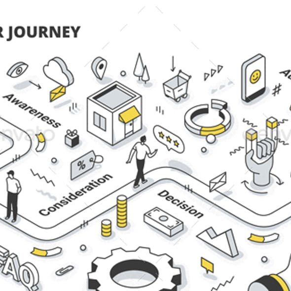Customer Journey Isometric Outline Illustration