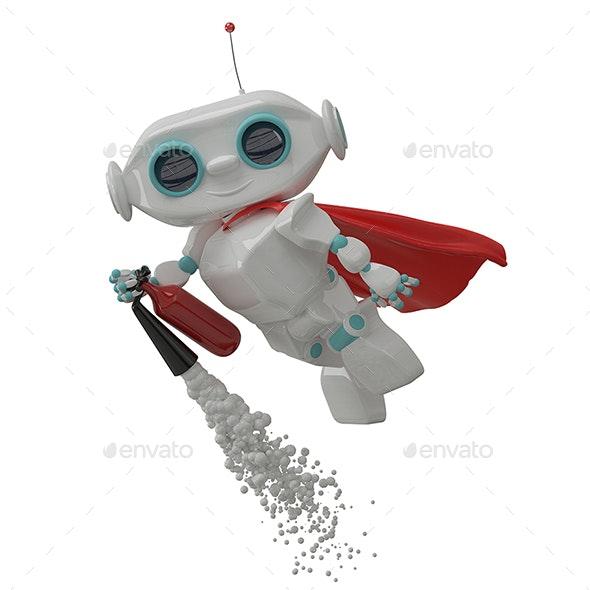 3D Illustration Little Robot Repairs a Rocket - Objects 3D Renders