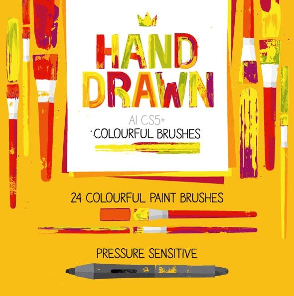 AI Colourful Paint Brushes - Brushes Illustrator