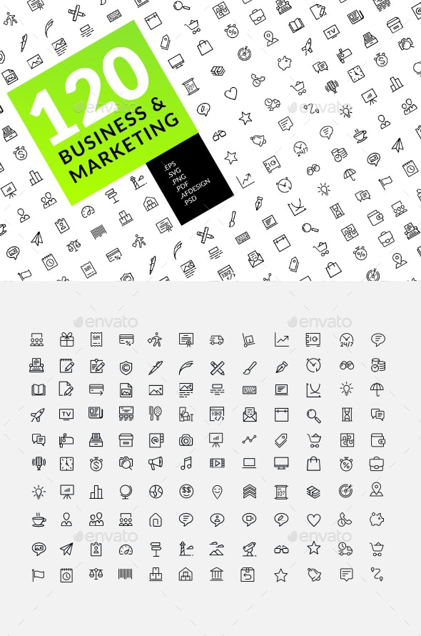 Business and marketing icons 120 set - Web Icons