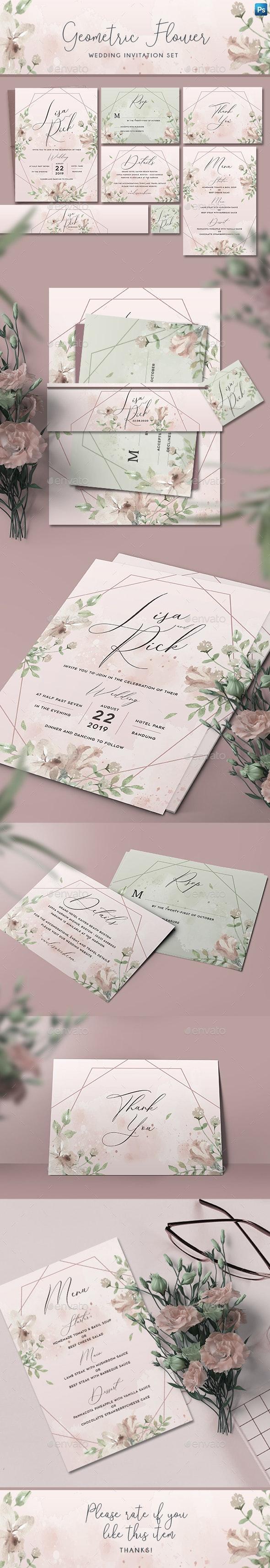 Geometric Flower Wedding Invitation - Weddings Cards & Invites