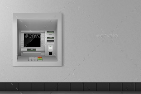 Atm Automated Teller Machine on Grey Wall Banking - Computers Technology