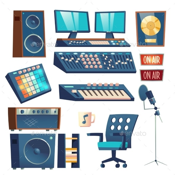 Studio Sound Recording Equipment Set Isolated - Man-made Objects Objects