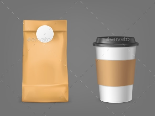 Coffee Bag and Disposable Cup Design Elements Set - Food Objects