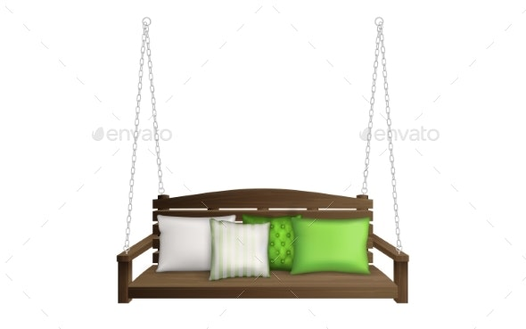 Wooden Porch Swing Bench on Ropes with Pillows - Man-made Objects Objects
