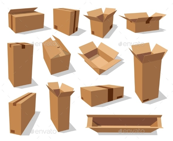 Cardboard Packaging Boxes - Man-made Objects Objects