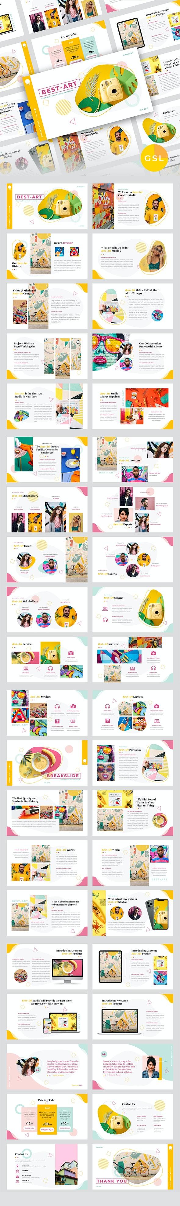 Best-Art – Creative Business & Pop Art Google Slides Template - Google Slides Presentation Templates