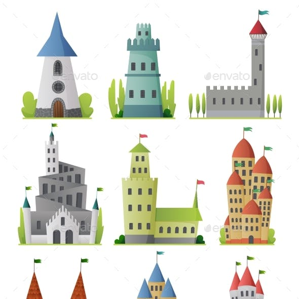 Flat Vector Set of Large Fairy Tale Castles
