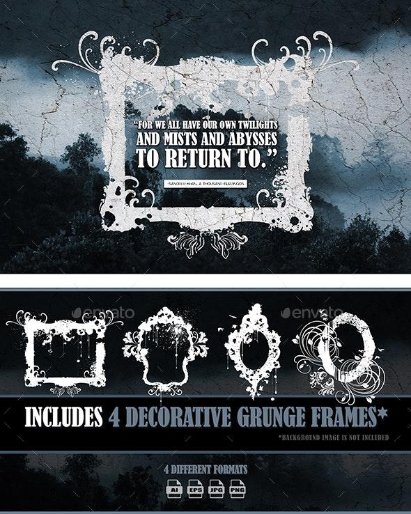 4 Decorative Grunge Frames - Borders Decorative