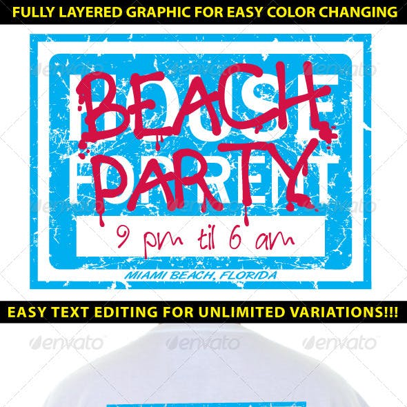 Beach Party Themed Island Resort T-shirt Design
