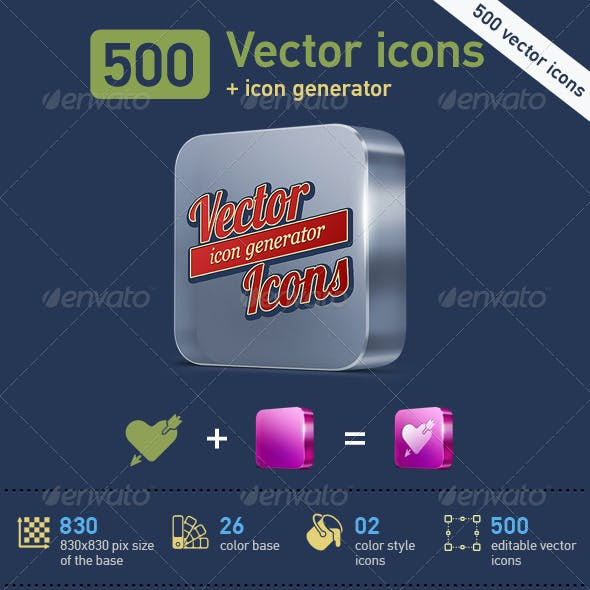 500 Vector Icons + Icon Generator