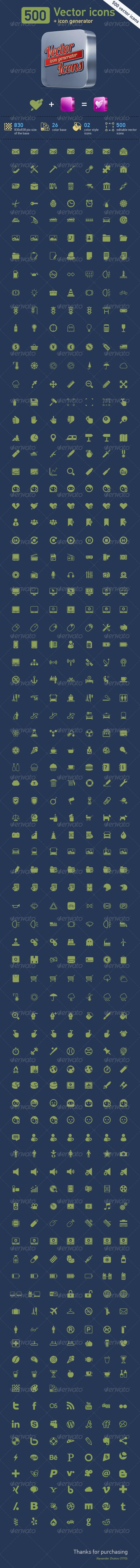 500 Vector Icons + Icon Generator - Web Icons